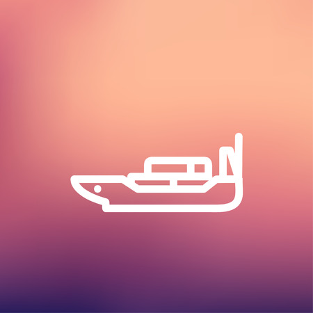 Cargo ship with container icon thin line for web and mobile, modern minimalistic flat design. Vector white icon on gradient mesh background.