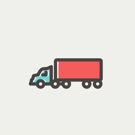merchandise: Delivery truck icon thin line for web and mobile, modern minimalistic flat design. Vector icon with dark grey outline and offset colour on light grey background.