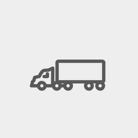 panel van: Delivery truck icon thin line for web and mobile, modern minimalistic flat design. Vector dark grey icon on light grey background. Illustration