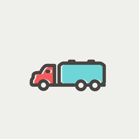 Truck liquid cargo icon thin line for web and mobile, modern minimalistic flat design. Vector icon with dark grey outline and offset colour on light grey background.