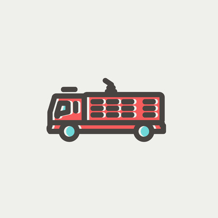 response: Fire truck icon thin line for web and mobile, modern minimalistic flat design. Vector icon with dark grey outline and offset colour on light grey background.