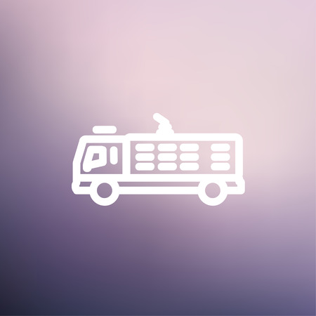 response: Fire truck icon thin line for web and mobile, modern minimalistic flat design. Vector white icon on gradient mesh background. Illustration