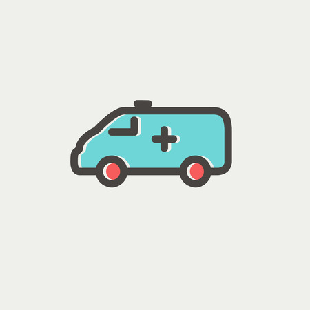 ambulance car icon thin line for web and mobile modern minimalistic flat design vector - Ambulance Pictures To Colour