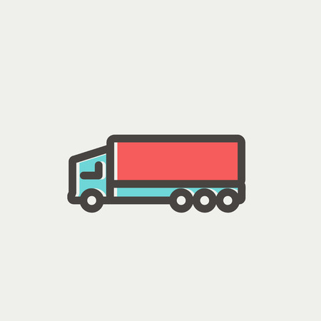 Trailer truck icon thin line for web and mobile, modern minimalistic flat design. Vector icon with dark grey outline and offset colour on light grey background.