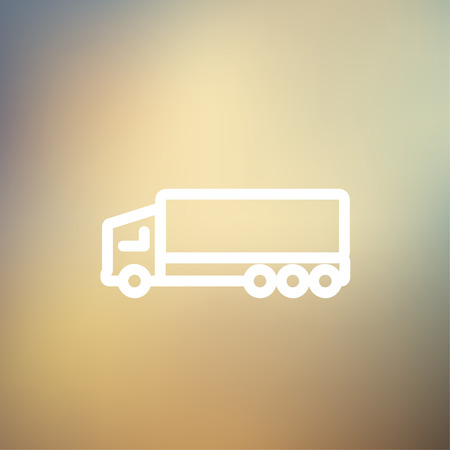 Trailer truck icon thin line for web and mobile, modern minimalistic flat design. Vector white icon on gradient mesh background. Illustration