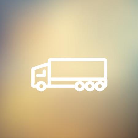 crisper: Trailer truck icon thin line for web and mobile, modern minimalistic flat design. Vector white icon on gradient mesh background. Illustration