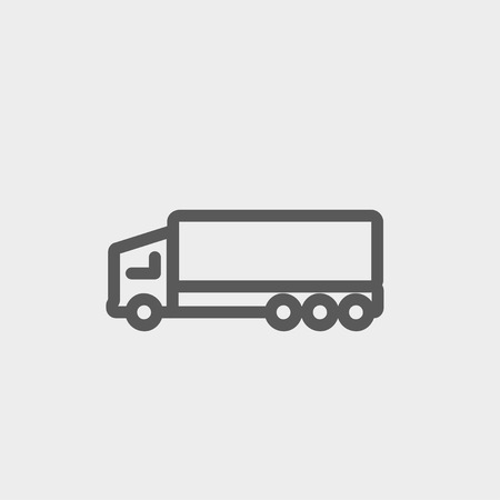 Trailer truck icon thin line for web and mobile, modern minimalistic flat design. Vector dark grey icon on light grey background.