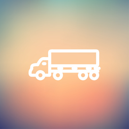 Cargo truck icon thin line for web and mobile, modern minimalistic flat design. Vector white icon on gradient mesh background.