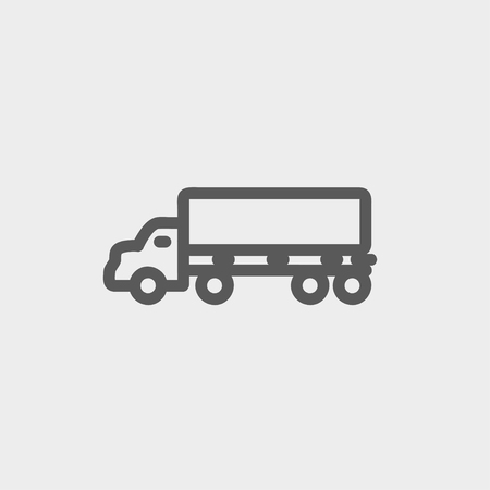 Cargo truck icon thin line for web and mobile, modern minimalistic flat design. Vector dark grey icon on light grey background.