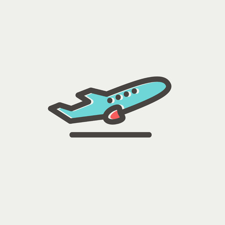 takeoff: Airplane takeoff icon thin line for web and mobile, modern minimalistic flat design. Vector icon with dark grey outline and offset colour on light grey background. Illustration