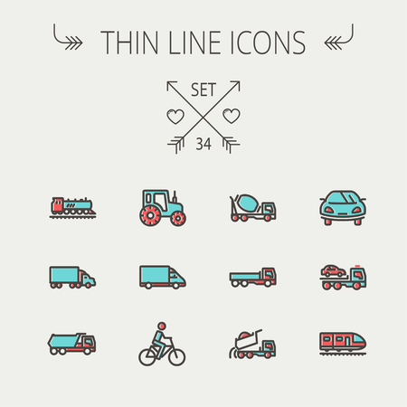 Transportation thin line icon set for web and mobile. Set include-sports car, trucks, vans, bicycle, towing truck, mixer truck, train icons. Modern minimalistic flat design. Vector icon with dark grey outline and offset colour on light grey background.