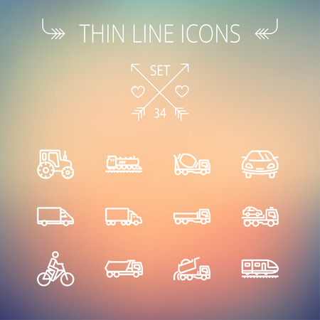 Transportation thin line icon set for web and mobile. Set includes-sports car, trucks, vans, bicycle, towing truck, mixer truck, train icons. Modern minimalistic flat design. Vector white icon on gradient mesh background.