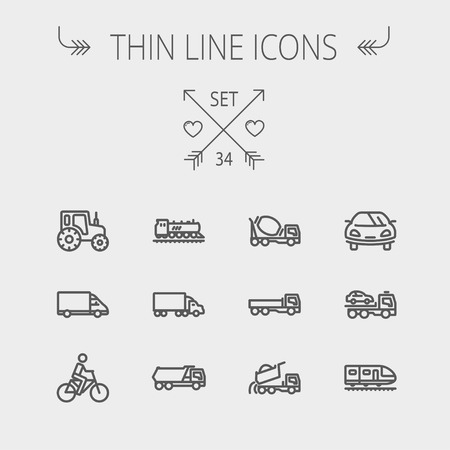 Transportation thin line icon set for web and mobile. Set includes- sports car, trucks, vans, bicycle, towing truck, mixer truck, train icons. Modern minimalistic flat design. Vector dark grey icon on light grey background. Illustration