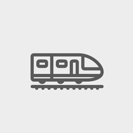 the high speed train: Modern high speed train icon thin line for web and mobile, modern minimalistic flat design. Vector dark grey icon on light grey background. Illustration