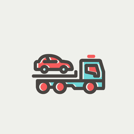 Car towing truck icon thin line for web and mobile, modern minimalistic flat design. Vector icon with dark grey outline and offset colour on light grey background.
