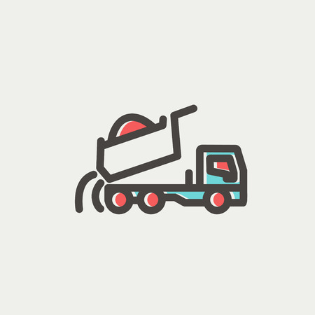 dumptruck: Dump truck icon thin line for web and mobile, modern minimalistic flat design. Vector icon with dark grey outline and offset colour on light grey background.