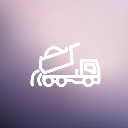 quicksand: Dump truck icon thin line for web and mobile, modern minimalistic flat design. Vector white icon on gradient mesh background.