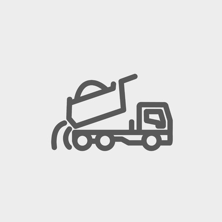 dumptruck: Dump truck icon thin line for web and mobile, modern minimalistic flat design. Vector dark grey icon on light grey background.
