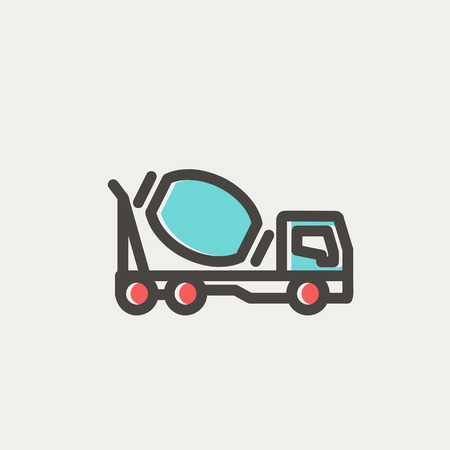 scrambler: Concrete mixer truck icon thin line for web and mobile, modern minimalistic flat design. Vector icon with dark grey outline and offset colour on light grey background. Illustration