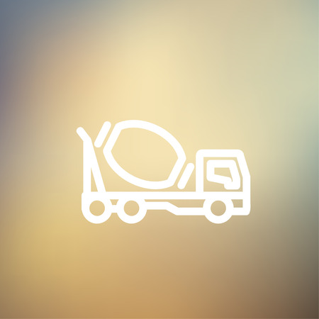 scrambler: Concrete mixer truck icon thin line for web and mobile, modern minimalistic flat design. Vector white icon on gradient mesh background.