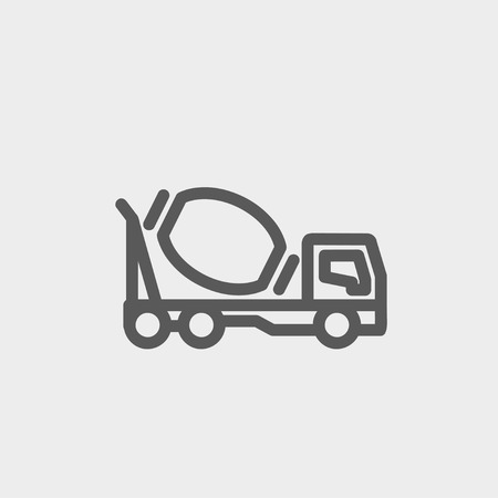 scrambler: Concrete mixer truck icon thin line for web and mobile, modern minimalistic flat design. Vector dark grey icon on light grey background.