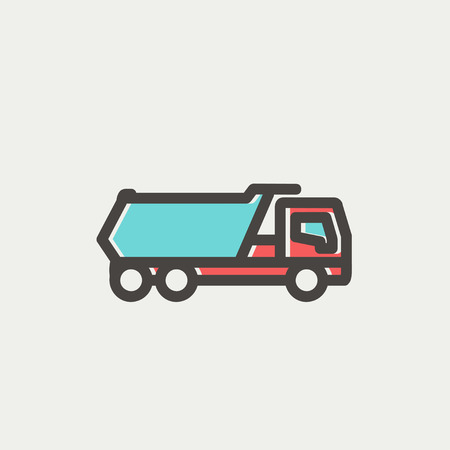 18 wheeler: Trailer truck icon thin line for web and mobile, modern minimalistic flat design. Vector icon with dark grey outline and offset colour on light grey background.
