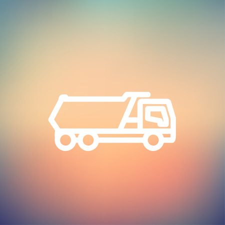 Trailer truck icon thin line for web and mobile, modern minimalistic flat design. Vector white icon on gradient mesh background. 向量圖像