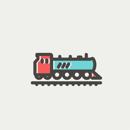 Railroad train icon thin line for web and mobile, modern minimalistic flat design. Vector icon with dark grey outline and offset colour on light grey background. Vector