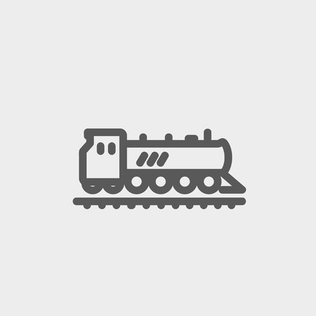 Railroad train icon thin line for web and mobile, modern minimalistic flat design. Vector dark grey icon on light grey background. Vector