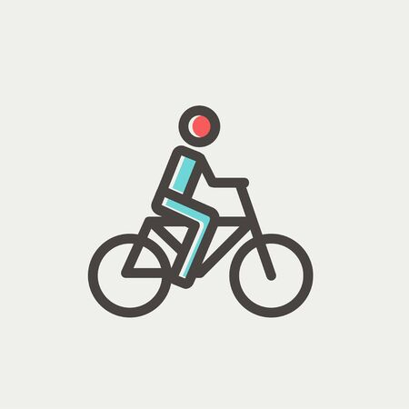 rural road: Racing bike icon thin line for web and mobile, modern minimalistic flat design. Vector icon with dark grey outline and offset colour on light grey background.