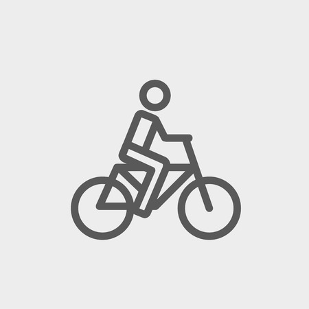 Racing bike icon thin line for web and mobile, modern minimalistic flat design. Vector dark grey icon on light grey background. Illustration