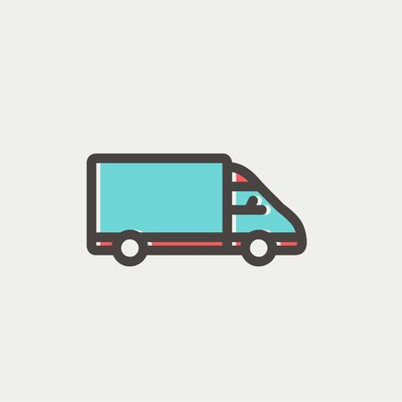 Delivery van icon thin line for web and mobile, modern minimalistic flat design. Vector icon with dark grey outline and offset colour on light grey background. Vector