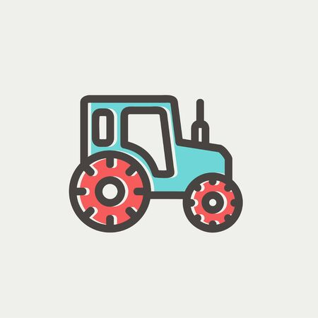 exciting: Offroad car icon thin line for web and mobile, modern minimalistic flat design. Vector icon with dark grey outline and offset colour on light grey background.