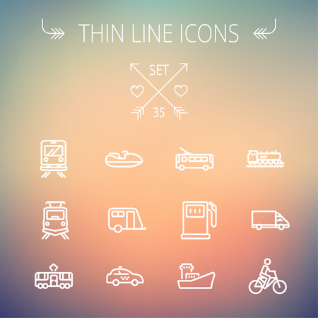 Transportation thin line icon set for web and mobile. Set includes- gas pump, vessel, car, train, bus, boat  icons. Modern minimalistic flat design. Vector white icon on gradient mesh background. 向量圖像