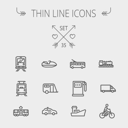 Transportation thin line icon set for web and mobile. Set includes- gas pump, vessel, car, train, bus, boat  icons. Modern minimalistic flat design. Vector dark grey icons on light grey background.