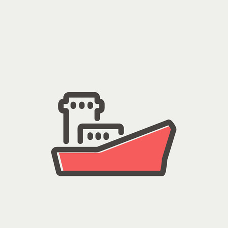 Cargo vessel icon thin line for web and mobile, modern minimalistic flat design. Vector icon with dark grey outline and offset colour on light grey background. Illustration