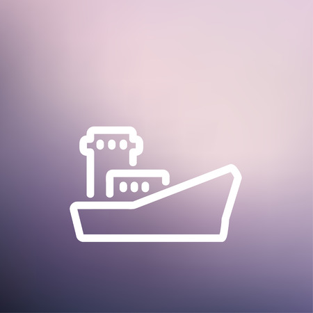 Cargo vessel icon thin line for web and mobile, modern minimalistic flat design. Vector white icon on gradient mesh background.
