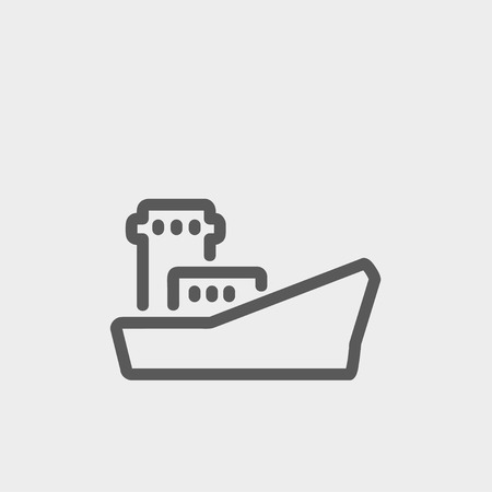 Cargo vessel icon thin line for web and mobile, modern minimalistic flat design. Vector dark grey icon on light grey background.