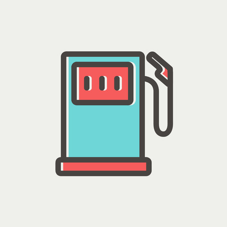 fuelling pump: Gas pump icon thin line for web and mobile, modern minimalistic flat design. Vector icon with dark grey outline and offset colour on light grey background. Illustration