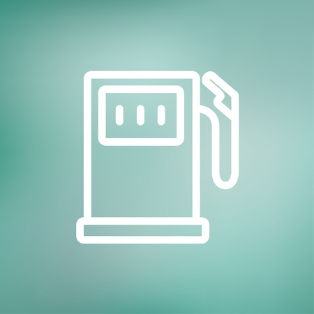 fuelling pump: Gas pump icon thin line for web and mobile, modern minimalistic flat design. Vector white icon on gradient mesh background.