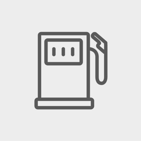 Gas pump icon thin line for web and mobile, modern minimalistic flat design. Vector dark grey icon on light grey background.