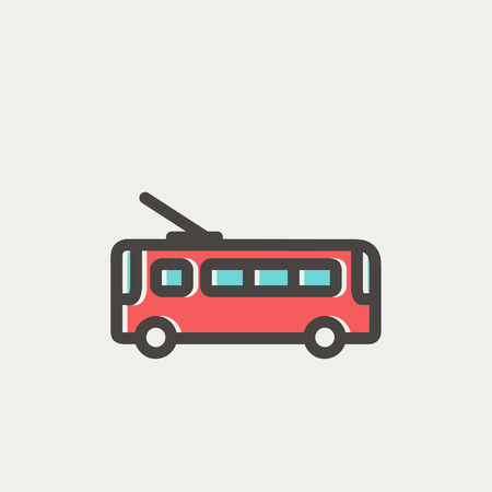 Bus icon thin line for web and mobile, modern minimalistic flat design. Vector icon with dark grey outline and offset colour on light grey background.
