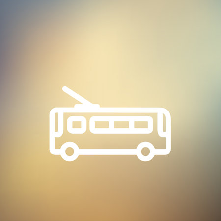 Bus icon thin line for web and mobile, modern minimalistic flat design. Vector white icon on gradient mesh background.