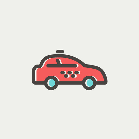 interceptor: Police car icon thin line for web and mobile, modern minimalistic flat design. Vector icon with dark grey outline and offset colour on light grey background. Illustration