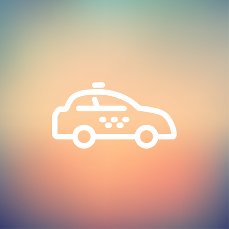 interceptor: Police car icon thin line for web and mobile, modern minimalistic flat design. Vector white icon on gradient mesh background. Illustration