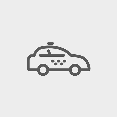 interceptor: Police car icon thin line for web and mobile, modern minimalistic flat design. Vector dark grey icon on light grey background.