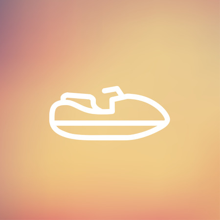 outboard: Speed boat icon thin line for web and mobile, modern minimalistic flat design. Vector white icon on gradient mesh background.