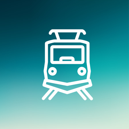 high speed rail: Front view of the train icon thin line for web and mobile, modern minimalistic flat design. Vector white icon on gradient mesh background.