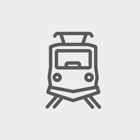 genesis: Front view of the train icon thin line for web and mobile, modern minimalistic flat design. Vector dark grey icon on light grey background.