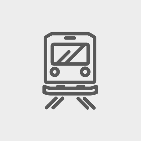 goods train: Back view of the train icon thin line for web and mobile, modern minimalistic flat design. Vector dark grey icon on light grey background. Illustration